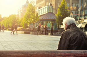 Elderly man feeling lonely
