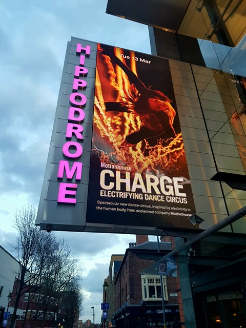 Advert for Motionhouse's Charge, Birmingham Hippodrome