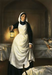 A painting of Florence Nightingale holding a lamp next to a hospital bed